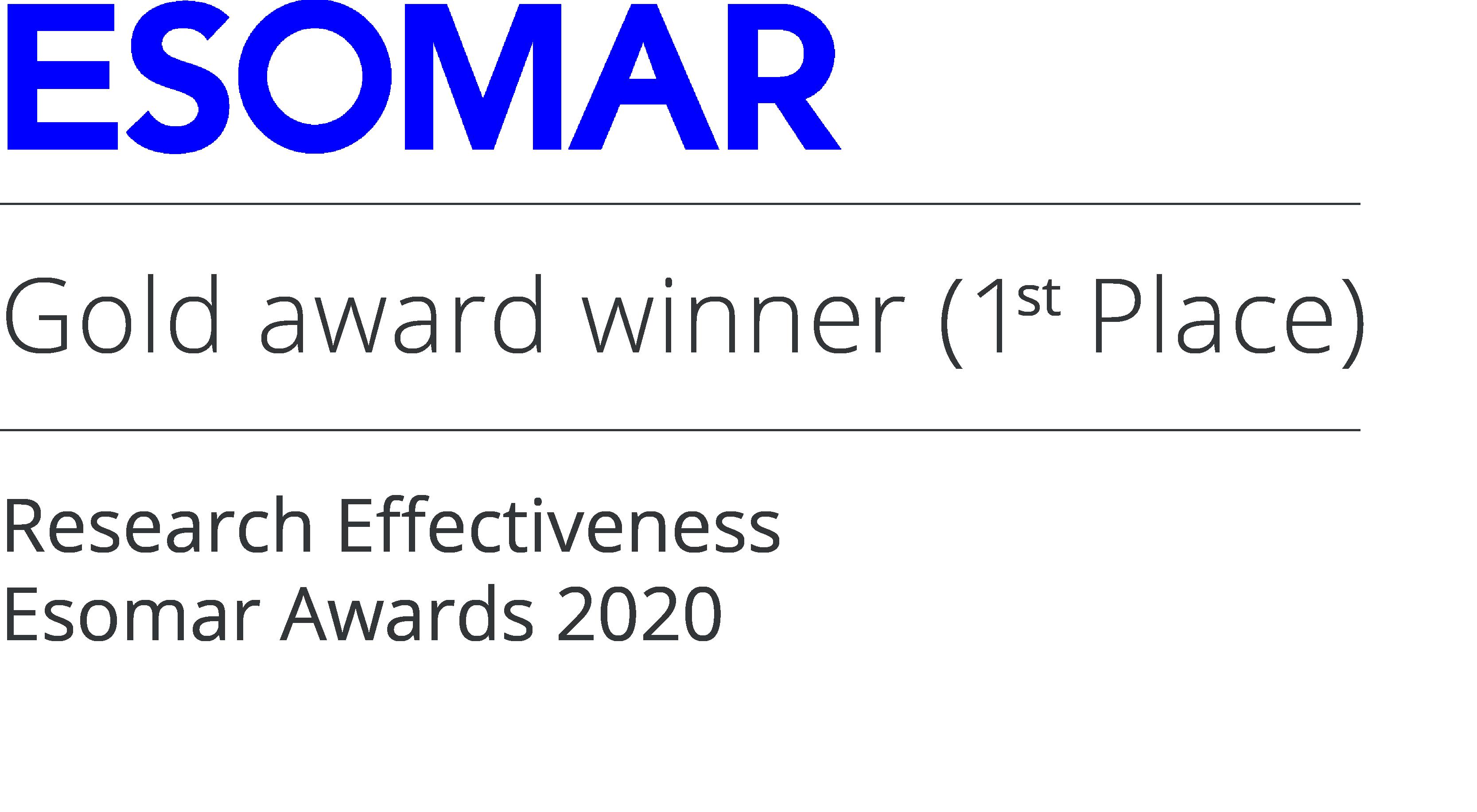 Gold Award Winner for Esomar Research Effectiveness 2020 (Yonder and Formula 1)